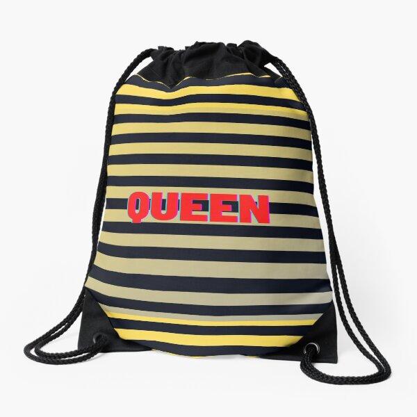Queen Bee Striped Yellow Black Drawstring Bag