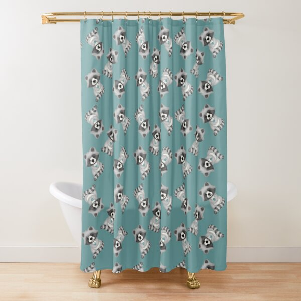 Cute raccoon with flowers Shower Curtain