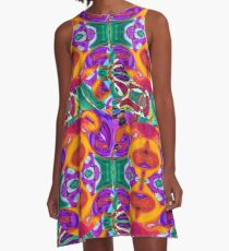 Apophenia Colorful Abstract Lowbrow Art Design A-Line Dress