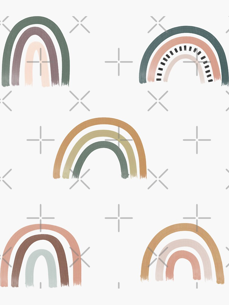 Earth Tone Boho Rainbow Sticker Pack by depressedblonde