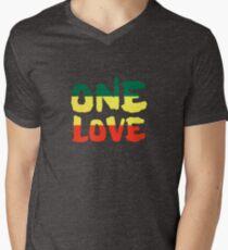 One Love Reggae Rasta Peace Weed Stoner Men's V-Neck T-Shirt