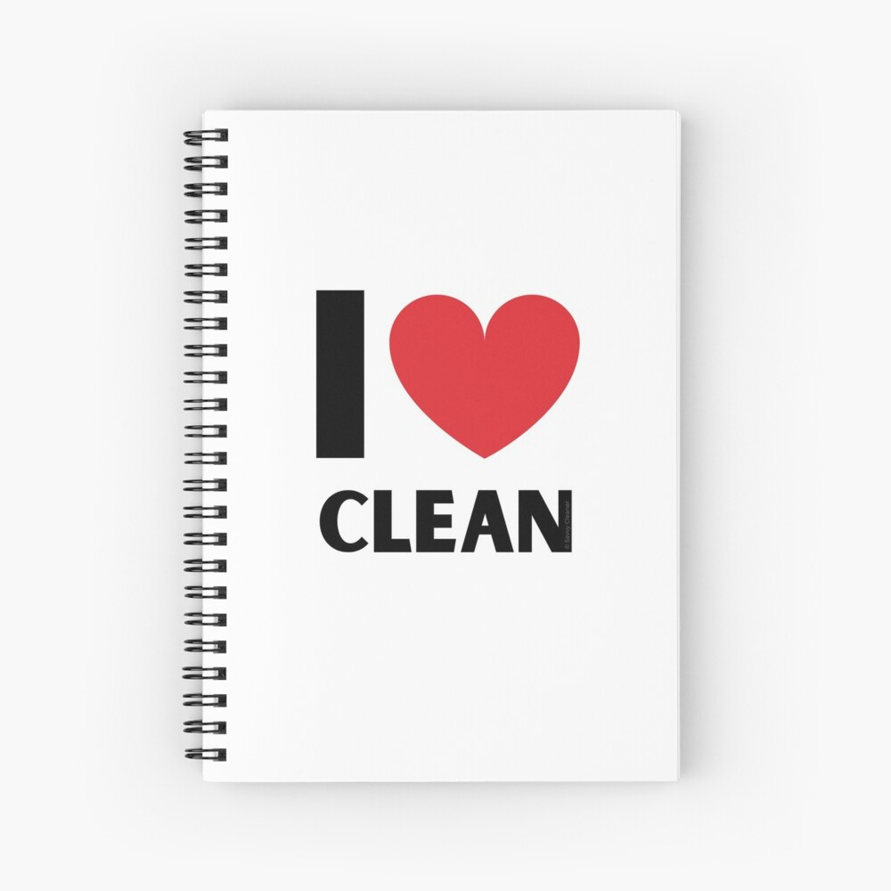 I Love Clean Valentine Heart Fun Cleaning Lady Gifts Spiral Notebook