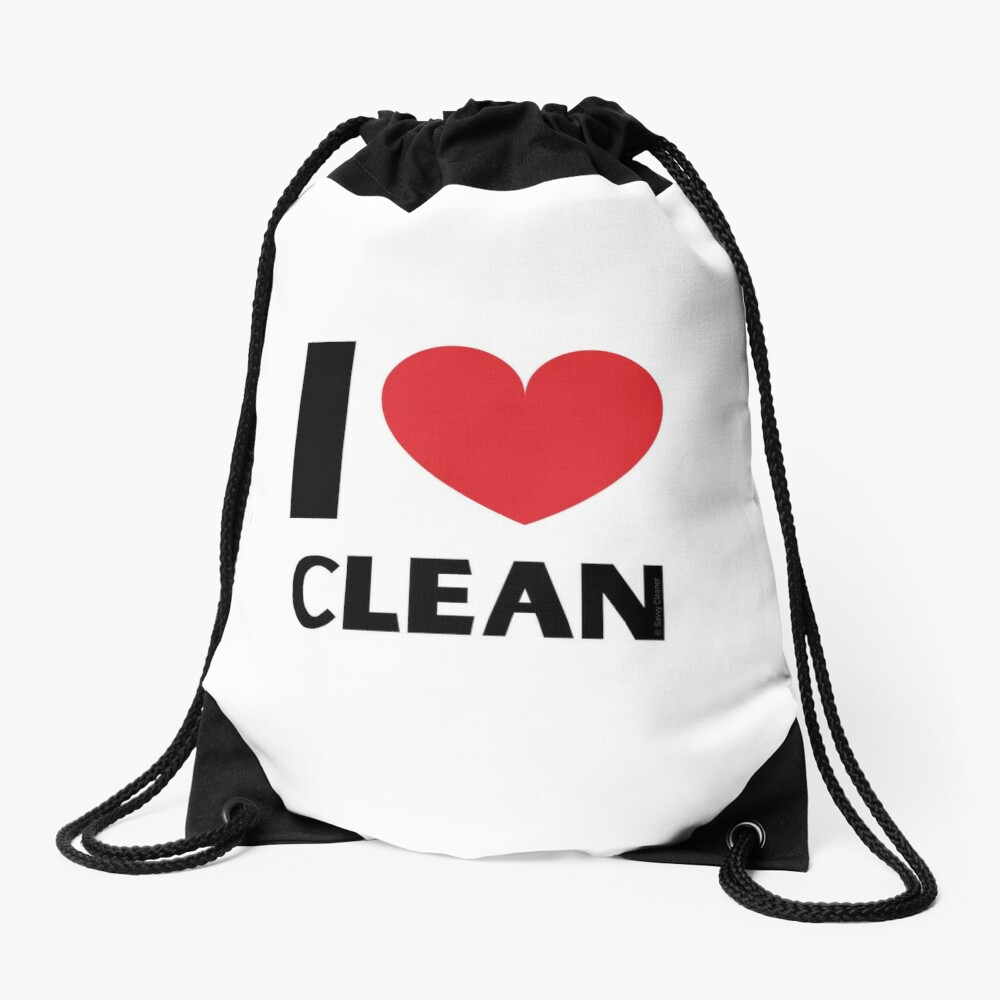I Love Clean Valentine Heart Fun Cleaning Lady Gifts Drawstring Bag