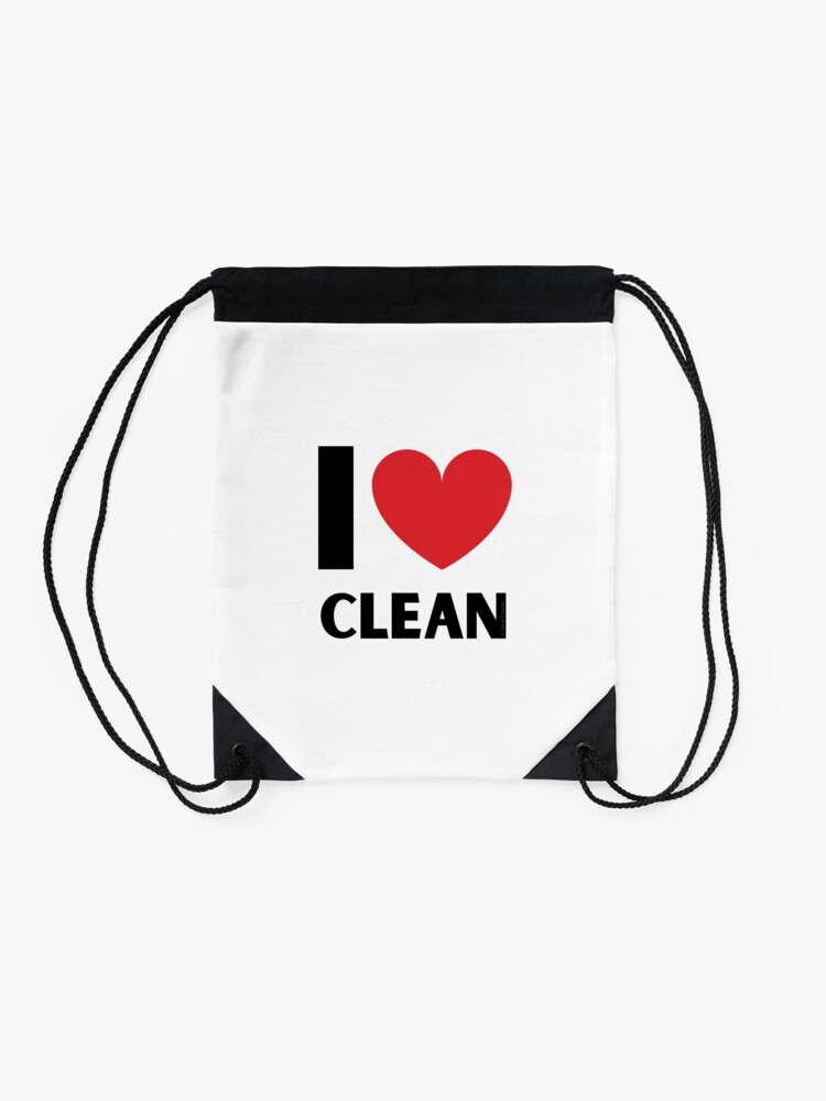 Alternate view of I Love Clean Valentine Heart Fun Cleaning Lady Gifts Drawstring Bag