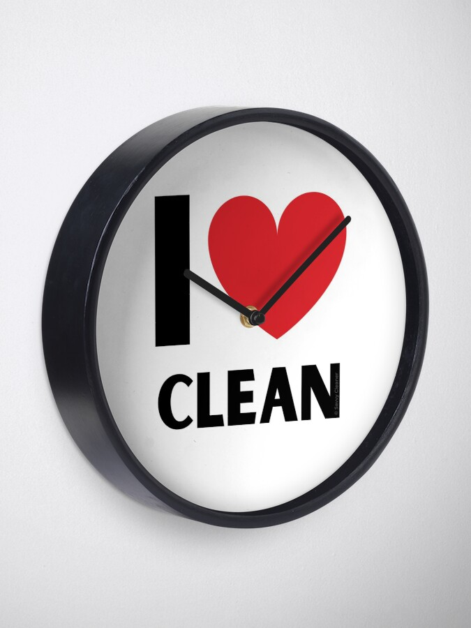 Alternate view of I Love Clean Valentine Heart Fun Cleaning Lady Gifts Clock