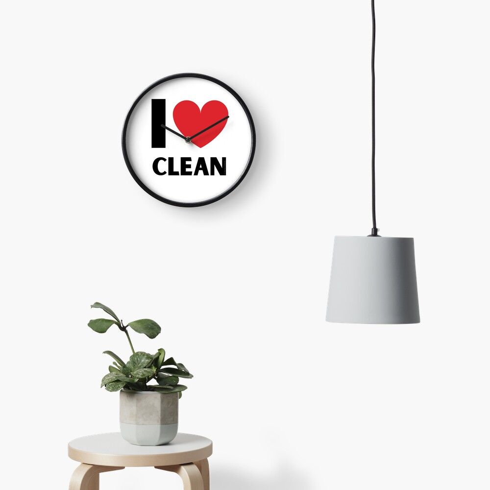 I Love Clean Valentine Heart Fun Cleaning Lady Gifts Clock