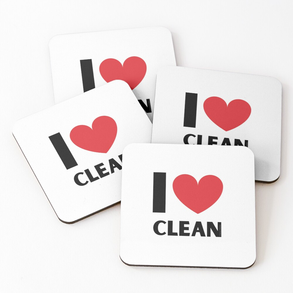 I Love Clean Valentine Heart Fun Cleaning Lady Gifts Coasters (Set of 4)