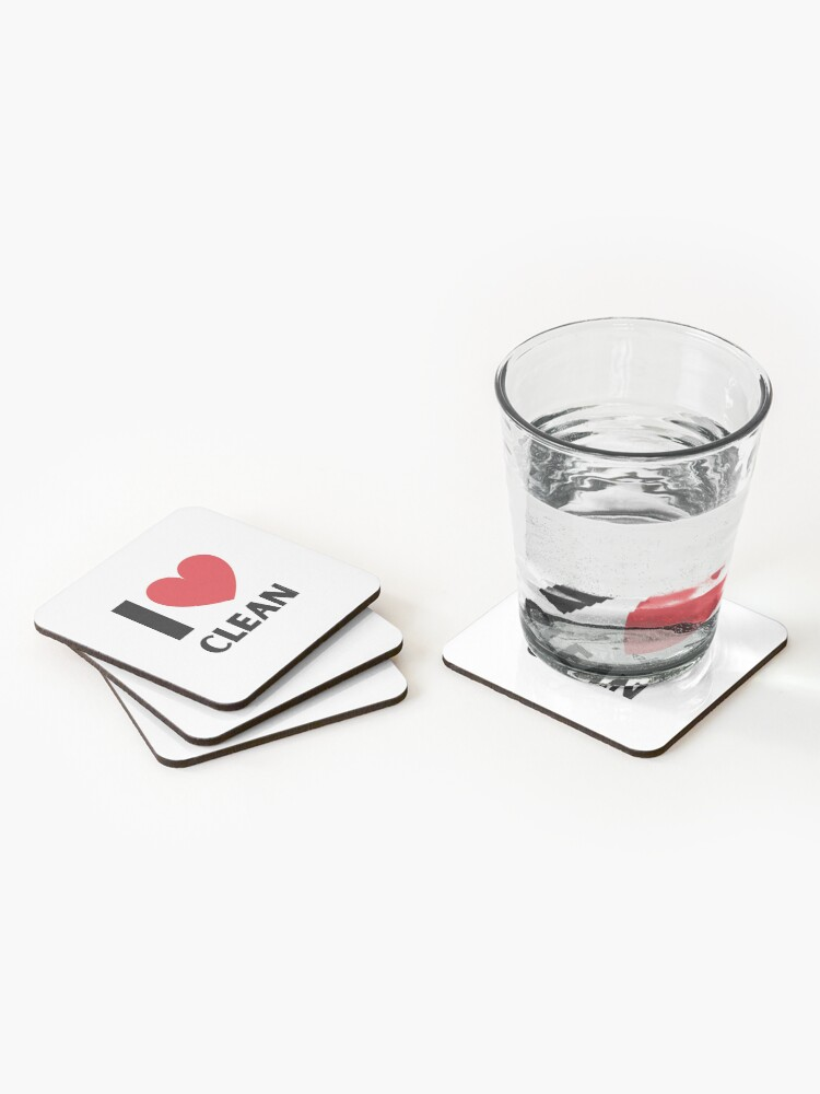 Alternate view of I Love Clean Valentine Heart Fun Cleaning Lady Gifts Coasters (Set of 4)