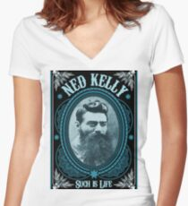 Ned Kelly - Such is Life Design  Women's Fitted V-Neck T-Shirt