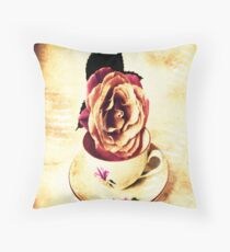 Vintage Rose & Cup Throw Pillows, Tote Bag Throw Pillow