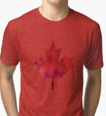 Canada Day Watercolour Maple Leaf Pattern Tri-blend T-Shirt