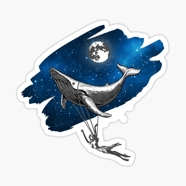 Flying Ballerina and Space Whale Sticker Sticker