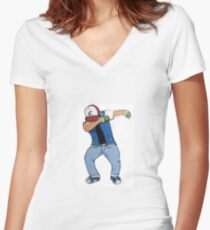 Ash Ketchum Dab Women's Fitted V-Neck T-Shirt