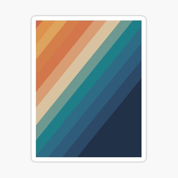 Retro Rainbow Stripes Diagonal 70's pattern Sticker