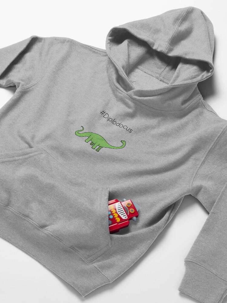 Alternate view of #Diplodocus - dinosaur design by Cecca Designs Kids Pullover Hoodie