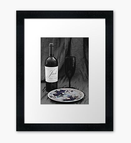 Wine and Plate of Grapes Framed Print