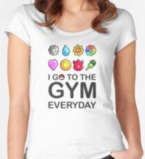 Ich gehe jeden Tag ins Fitnessstudio Tailliertes Rundhals-Shirt
