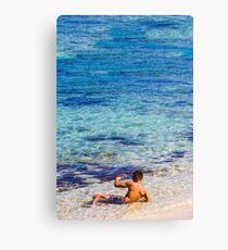 Sexy guy at the beach Canvas Print