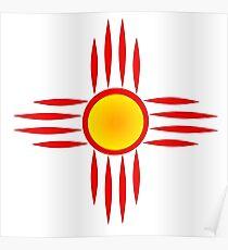 Red Zia Sun Symbol Poster