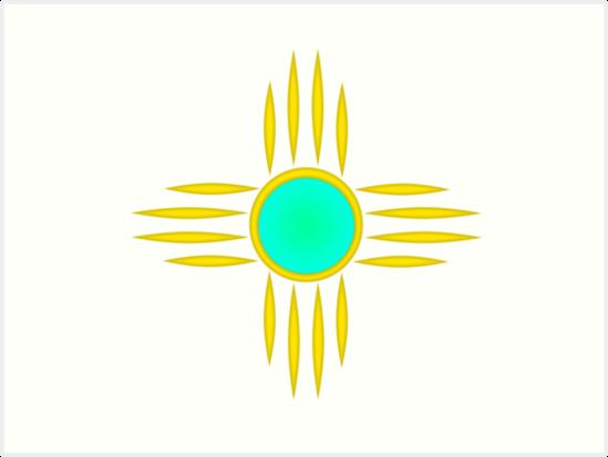 Gold Zia Sun Symbol Art Prints By Michelle Smith Redbubble