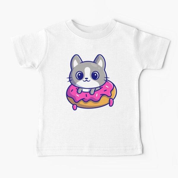Cute cat with doughnut.- cartoon characters Baby T-Shirt