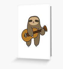 Guitar Sloth Greeting Card