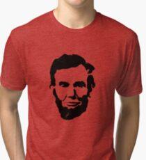 Abraham Lincoln Head Stencil Tri-blend T-Shirt