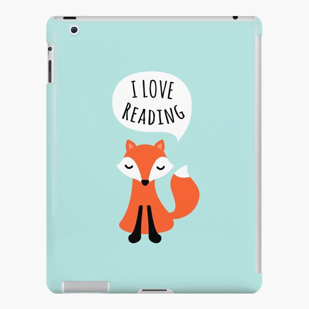 Me encanta leer, zorro de dibujos animados lindo sobre fondo azul Funda y vinilo para iPad