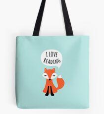 I love reading, cute cartoon fox on blue background Tote Bag