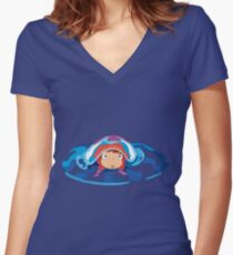 Ponyo Logo Women's Fitted V-Neck T-Shirt