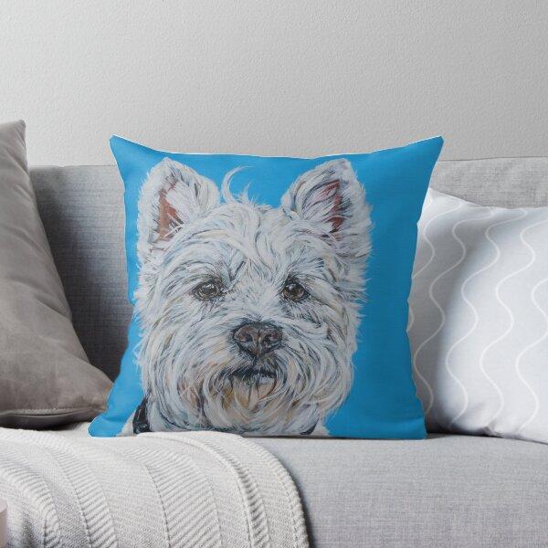 Little Mac. Dog painting art by award-winning UK artist Sam Fenner Throw Pillow
