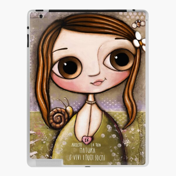 The child with snail and bee in the garden  iPad Skin