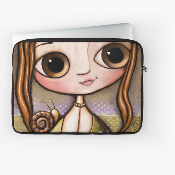 The child with snail and bee in the garden  Laptop Sleeve