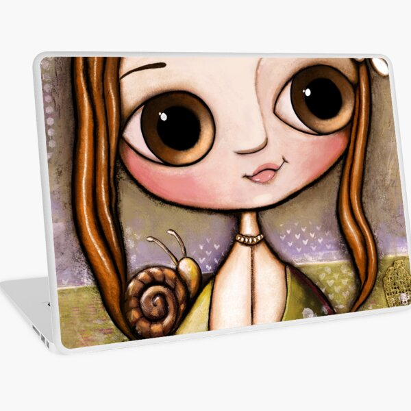 The child with snail and bee in the garden  Laptop Skin