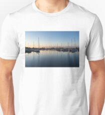 Pink and Blue Serenity - Soft Dawn at the Marina Unisex T-Shirt
