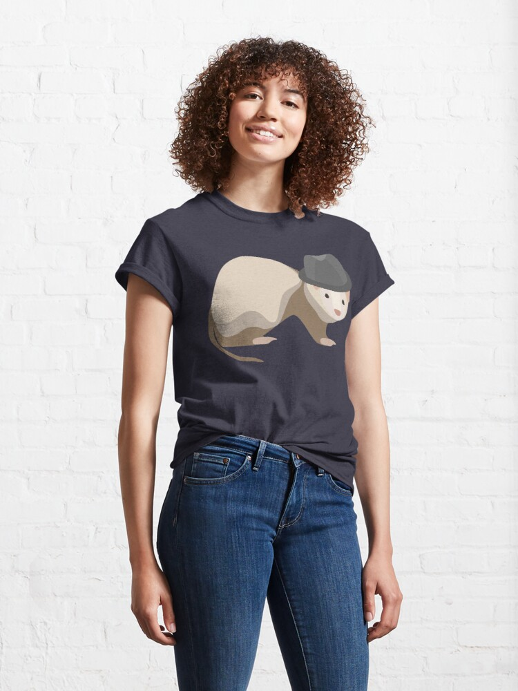 Alternate view of NDVH Ferret Wearing a Trilby Classic T-Shirt