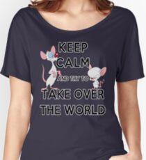 Camiseta ancha para mujer Mantenga la calma e intente dominar el mundo