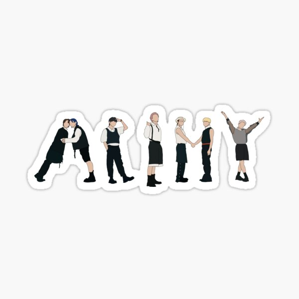 BTS Butter ARMY sign silhouette, Butter illustration  Sticker