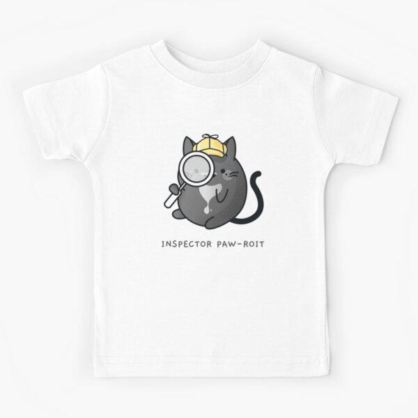Inspector Pawroit Black Tuxedo Cat Detective Kids T-Shirt