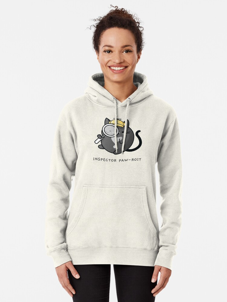 Alternate view of Inspector Pawroit Black Tuxedo Cat Detective Pullover Hoodie