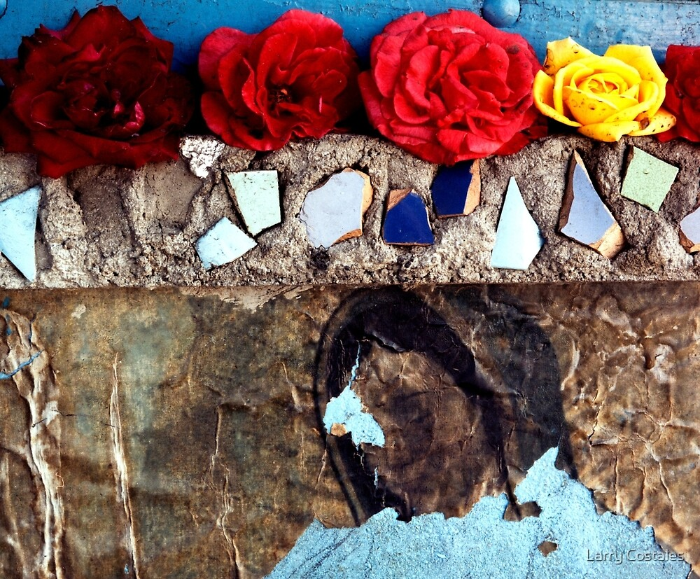 Roses on a Shrine - East Los Angeles by Larry Costales
