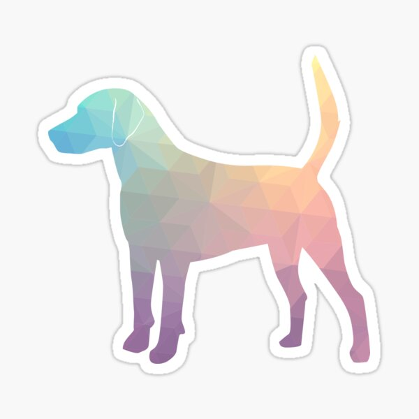 Harrier Hound - Colorful Geometric Pattern Silhouette - Pastel Sticker