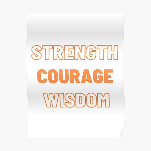 Strength Courage Wisdom (Orange), Calming Art, Printable Wall Art, Buddhism Wall Art Poster