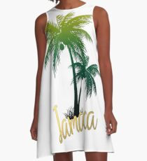 Palm Tree Jamaica A-Line Dress
