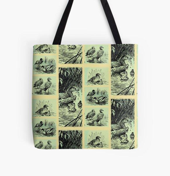 Vintage Birds All Over Print Tote Bag
