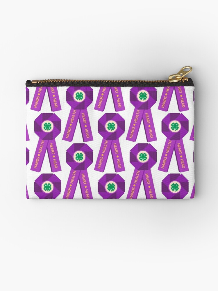 '4-H Big, Purple Ribbon' Zipper Pouch by msizemo