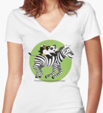 Black and White Buddies Women's Fitted V-Neck T-Shirt