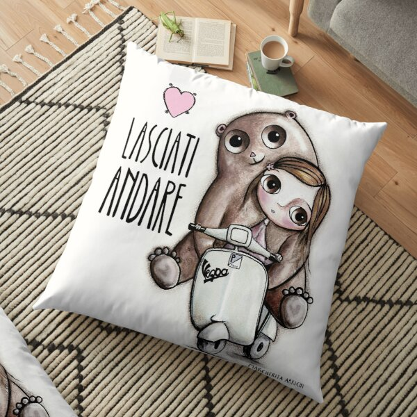 The doll and the bear with big eyes on Vespa, art Margherita Arrighi Floor Pillow