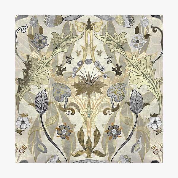Exquisite William Morris Daisy Tile, Tulip and Strawberry Thief fusion - Art Nouveau Victorian Pattern. Caroline Laursen original Photographic Print