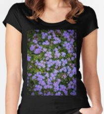 Purple flowers as background.  Women's Fitted Scoop T-Shirt